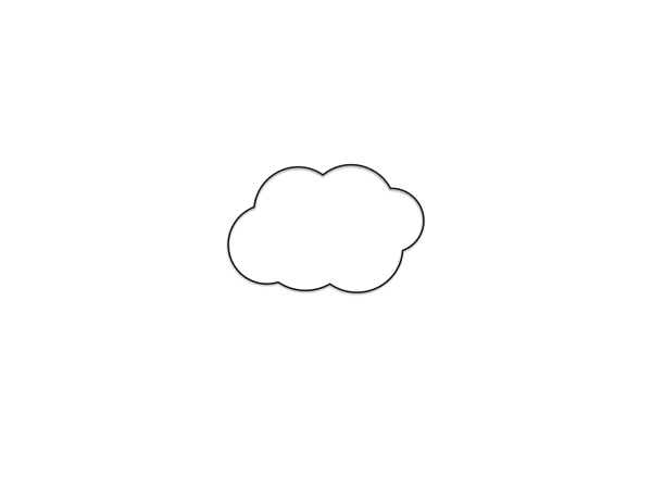 大きな紙の真ん中に、雲を描く。
