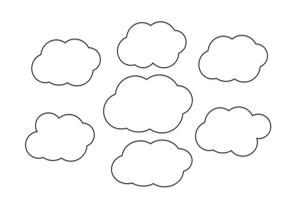 回りに6個の雲を描く。