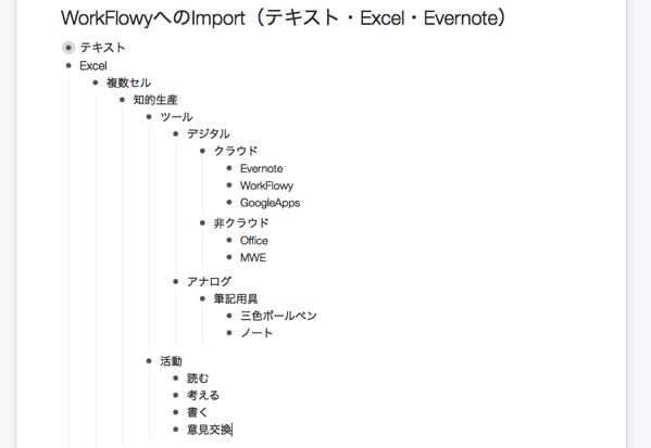 WorkFlowyにExcelファイルをインポートした場合。