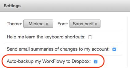 Dropboxへのバックアップ設定